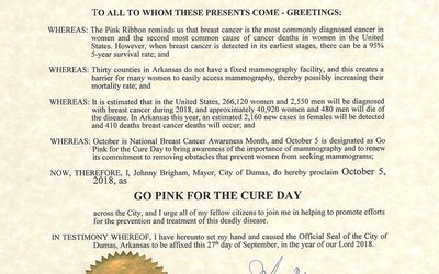 Go Pink for the Cure Day City Proclamation