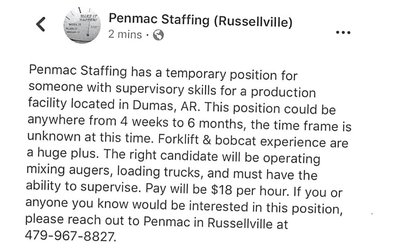 Penmac Staffing Position Available